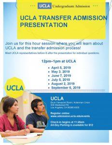 flyer for UCLA transfer presentation
