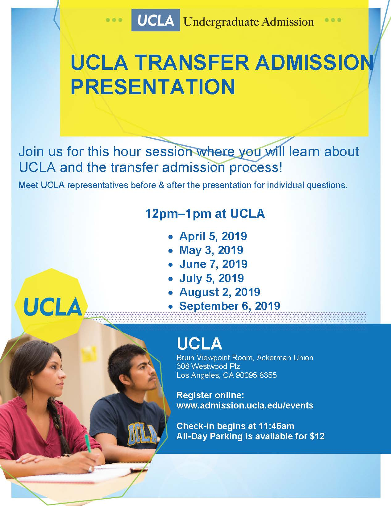 flyer for UCLA transfer presentation